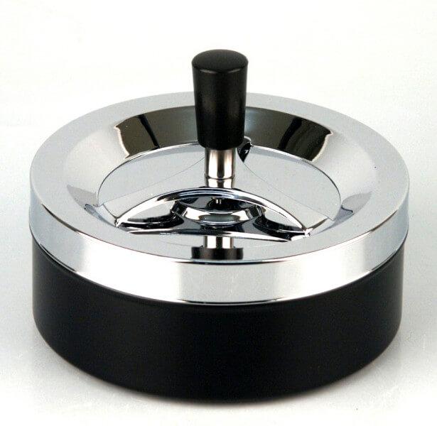 Riesiger moderner Drehaschenbecher 14 cm chrom-schwarz