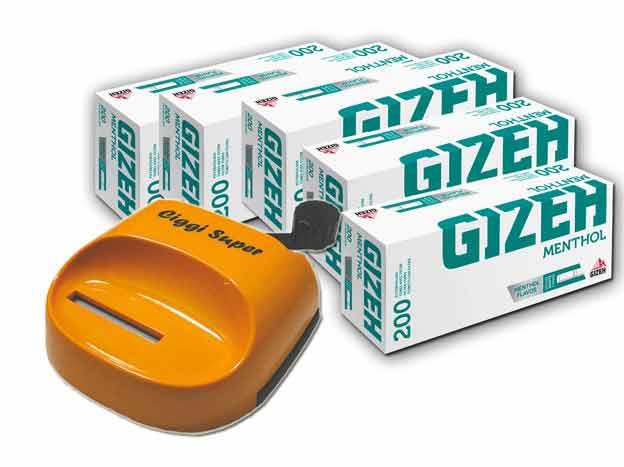 1000 Gizeh Menthol Hülsen + Ciggi Super Stopfmaschine