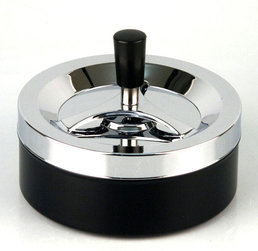 Ciggi Riesiger moderner Drehaschenbecher 14 cm chrom-schwarz