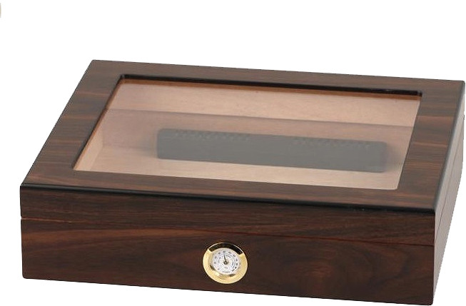 Hauser Walnut Finish Humidor mit Glasfenster